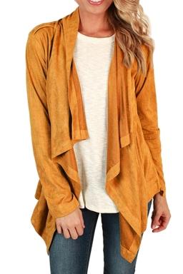 Womens Asymmetric Faux Suede Long Sleeve Plain Blazer Yellow