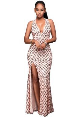 Womens Sequined Deep V Neck Backless Side Slit Mex Dress Apricot