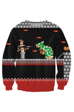 Womens Super Mario Printed Pullover Sweatshirt Black