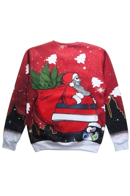 Womens Christmas Santa Printed Pullover Sweatshirt Ruby