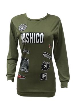 Womens Letter Printed Crewneck Long Sleeve Sweatshirt Army Green