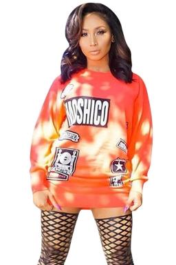 Womens Letter Printed Crewneck Long Sleeve Pullover Sweatshirt Orange