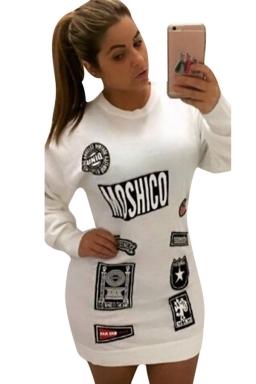 Womens Letter Printed Crewneck Long Sleeve Pullover Sweatshirt White