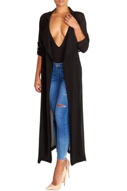 Womens Notched Lapel Sheer Chiffon Long Trench Coat Black