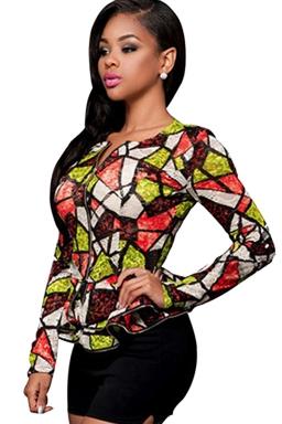 Womens Geometric Printed Zip Up Ruffled Hem Blazer Green