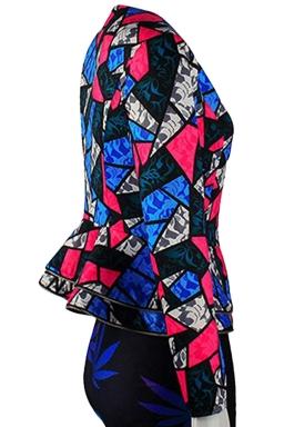 Womens Geometric Printed Zip Up Ruffled Hem Blazer Rose Red