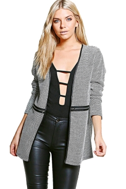 Womens Houndstooth Patterned Zipper Decor Long Sleeve Blazer Black