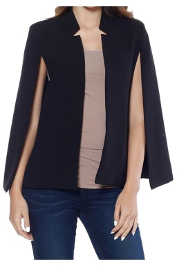 Womens Stand Collar Open Sleeve Slimming Cape Blazer Black