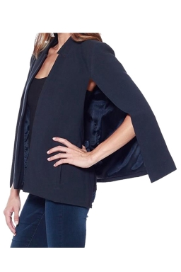 Womens Stand Collar Open Sleeve Slimming Cape Blazer Navy Blue