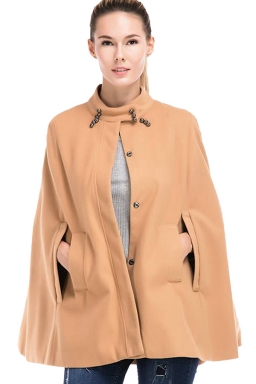 Womens Stand Collar Single-breasted Open Sleeve Cape Blazer Camel