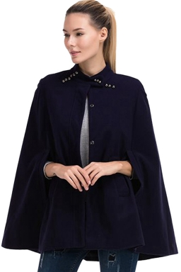 Womens Stand Collar Single-breasted Open Sleeve Cape Blazer Navy Blue