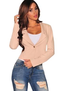 Womens Lapel Collar Lace-up Back Long Sleeve Plain Blazer Light Pink