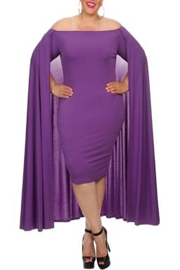 Womens Off Shoulder Plain Cape Midi Plus Size Dress Purple