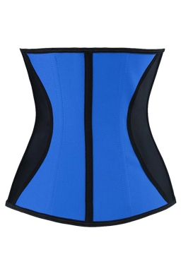 Womens Color Block Under Bust Waist Training Corset Blue