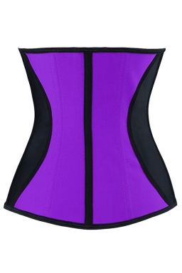 Womens Color Block Under Bust Waist Training Corset Purple