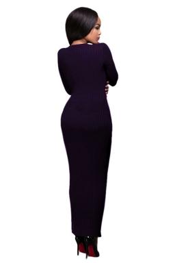 Womens Crochet Long Sleeve Side Slit Maxi Dress Purple