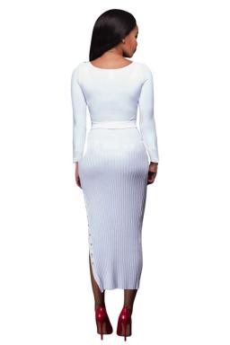 Womens Crochet Long Sleeve Side Slit Maxi Dress White