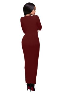 Womens Crochet Long Sleeve Side Slit Maxi Dress Ruby