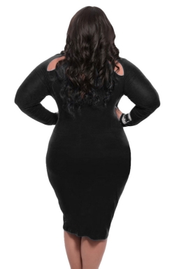 Womens Cut-out Long Sleeve Midi Plain Plus Size Dress Black