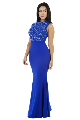 Womens Rhinestone Sleeveless Mermaid Maxi Evening Dress Blue