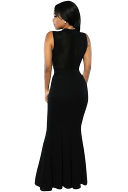 Womens Rhinestone Sleeveless Mermaid Maxi Evening Dress Black