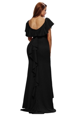 Womens Ruffled Backless Accent Maxi Evening Dress Black