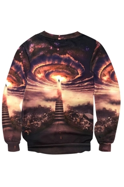 Womens Crewneck Imaginary Wonder Printed Pullover Sweatshirt Brown