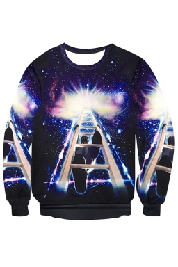 Womens Crewneck Imaginary Wonder Printed Pullover Sweatshirt Navy Blue