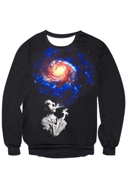 Womens Imaginary Galaxy Printed Long Sleeve Pullover Sweatshirt Blue