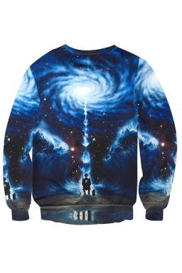 Womens Crewneck Imaginary Universe Printed Long Sleeve Sweatshirt Blue