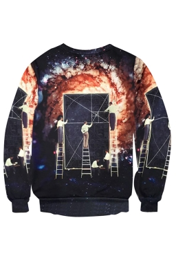 Womens Crewneck Universe Science Printed Long Sleeve Sweatshirt Orange