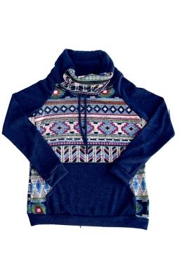 Womens Drawstring Cowl Neck Exotic Printed Sweatshirt Navy Blue