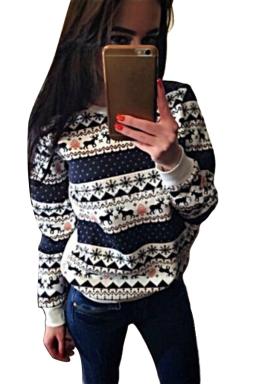 Womens Crewneck Reindeer Print Long Sleeve Christmas Sweatshirt White