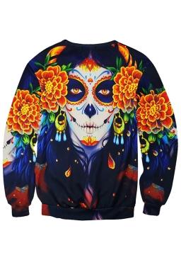 Womens Floral Skull Printed Long Sleeve Pullover Sweatshirt Orange