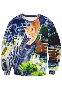 Womens Funny Cat Printed Long Sleeve Pullover Sweatshirt Brown