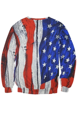 Womens Stripes and Stars Printed Long Sleeve Pullover Sweatshirt Red