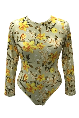 Womens Long Sleeve One-piece Floral Printed Bodysuit Yellow
