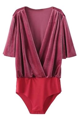 Womens Velvet V-neck Short Sleeve Plain Bodysuit Ruby