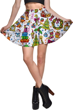 Womens High Waist Christmas Gifts Printed Pleated Skirt White