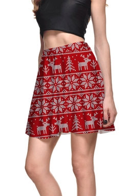 Womens High Waist Christmas Snowflake Printed Pleated Skirt Red