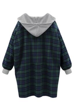 Womens Loose Plaid Printed Ling Sleeve Hoodie Green