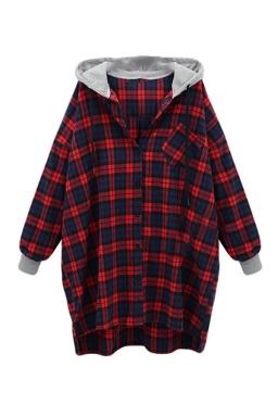 Womens Loose Plaid Printed Ling Sleeve Hoodie Red