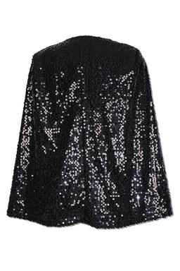 Womens Sequined Open Sleeve Cape Blazer Black
