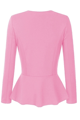 Womens V Neck Long Sleeve Peplum Hem Plain Blazer Pink
