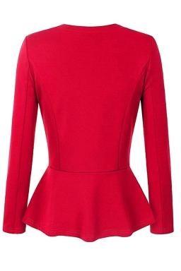 Womens V Neck Long Sleeve Peplum Hem Plain Blazer Red