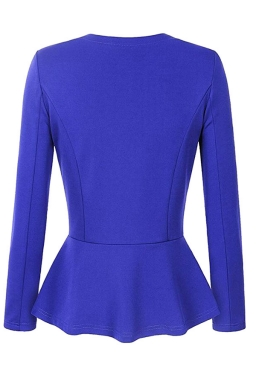 Womens V Neck Long Sleeve Peplum Hem Plain Blazer Sapphire Blue