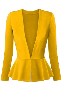 Womens V Neck Long Sleeve Peplum Hem Plain Blazer Yellow