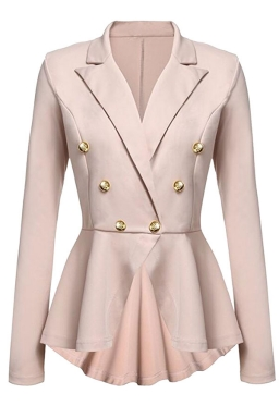 Womens Slimming Long Sleeve Buttons Peplum Blazer Khaki