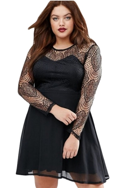 Womens Boohoo Plus Size Lace Long Sleeve Skater Dress Black