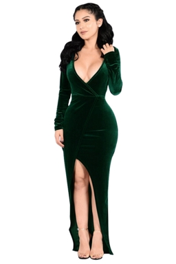 Womens Plunging Neck Long Sleeve Slit Front Evening Dress Green